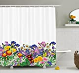 Flower Decor Shower Curtain by Ambesonne, Floral Garden with Daisies Violets Tulips Nature Colored Theme Decor Art Print, Fabric Bathroom Decor Set with Hooks, 70 Inches, Multicolor