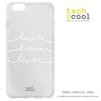 Funnytech® Funda Silicona para iPhone 7 Plus [Carcasa Resistencia y Definición Ultra Slim] Frase Love, Dream and Live Transparente
