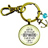 Anchor Keychain Deep Waters Christian Jewelry Inspirational Bible Verse Pendant For Women Thoughtful Gift Card