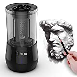 Tihoo Electric Professional Sketch Pencil Sharpener Automatic Fast Work, 3 Effects, Heavy Duty, for Art Studio, School (black)