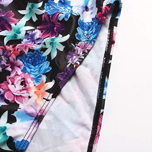 AKIMPE Women One Piece Swimsuit Floral Print Ruffled Plus Size Stap Swimwear Bathing Suit Beachwear B-Blue XXL by AKIMPE (Image #4)