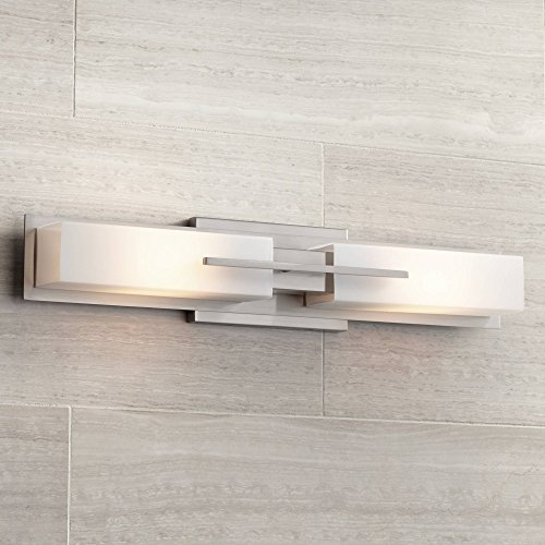 Contemporary Bathroom Sconces - Midtown Modern Wall Light Brushed Nickel 23 1/2