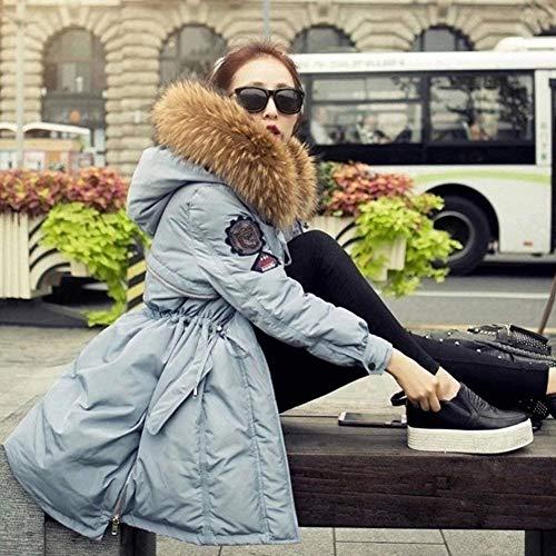 Saoye Fit Maniche Outwear Blau Donna Pelliccia Outdoor Con Cappuccio Fashion Slim Da Lungo Giacca In Cappotto Addensare Invernale Warm Parka qxTpOrqP