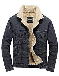 LifeHe Men's Casual Fleece Lined Fur Denim Jacket Winter Slim Fit Jeans Coat