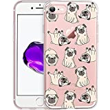 Unov Case Clear with Design Embossed Pattern TPU Soft Bumper Shock Absorption Slim Protective Cover for iPhone 8 iPhone 7 4.7 Inch (Pug Dog)