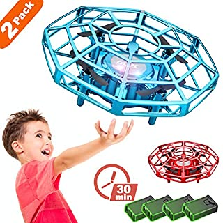 4DRC V3 Hand Operated Drone for Kids and Beginners,(2-Pack), Hands Free Mini Drone, Easy Indoor Small UFO with Sensors 360 Degree Rotating Induction Drone,4 Modular Batteries,Drone Toy for Boys Girls