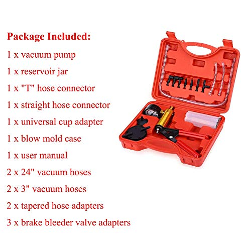 Podoy 2 in 1 Brake Bleeder Kit Handheld Vacuum Pump Test Set Tuner kit for Automotive Tuner Tools Adapters Case by Podoy (Image #3)