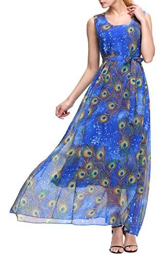 Wantdo Women's Peacock Print Chiffon Maxi Dress Plus Size Summer Beach Long Dresses with Belt(Sapphire Blue, US 18 Plus)