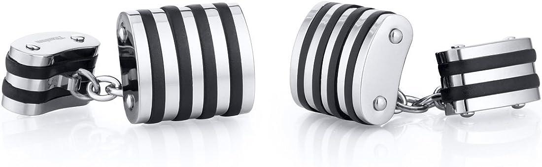 Peora Unique Black Stripe Polished Titanium Chain Style Mens Cufflinks