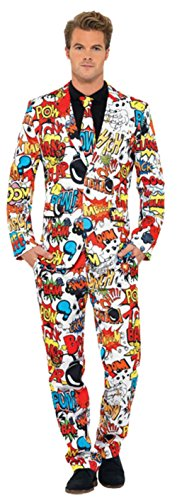 Comic Strip Costume (Alexanders Costumes Mens Funny Comic Strip Stand Out Suit Stag Festival Dress, X-Large (46-48))