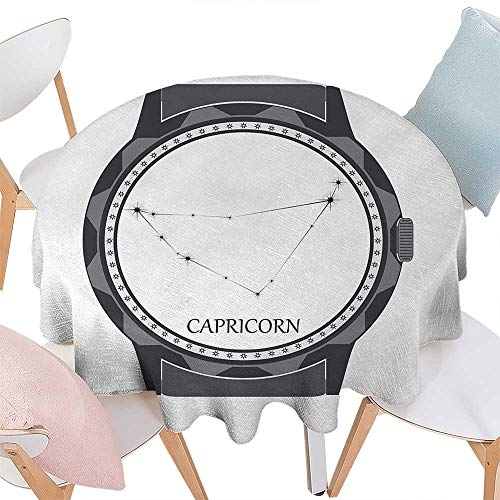 cobeDecor Zodiac Capricorn Patterned Round Tablecloth Greyscale Watch Dial Design with Horoscope Constellation Motif Dust-Proof Round Tablecloth D54 Grey Charcoal Grey (Patterned Round Dial)