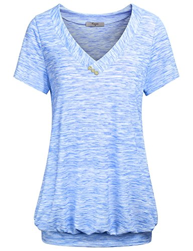 Cestyle Womens Short Sleeve Tops and Blouses, Juniors V Neck Buttons Casual Business Wear T Shirt Cute Tunics for Summer Blue L