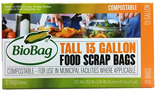 BioBag, The Original Compostable Bag, Kitchen Food Scrap Bags, ASTMD6400 Certified 100% Compostable Bags, Biodegradable Products Institute & VINCOTTE OK HOME Certified, Non GMO, 13 Gallon, 144 Count from BioBag