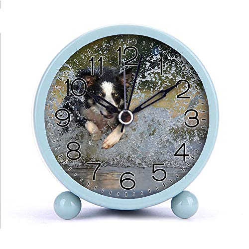 - Cute Color Alarm Clock, Round Metal Desk Clock Portable Clocks with Night Light House Decorations -030.border-collie-jump-water-british-sheepdog-37860 (White)