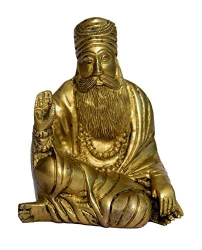 Brass Metal Statue of Guru Nanak with Fine Finishing Work by Bharat Haat BH00954