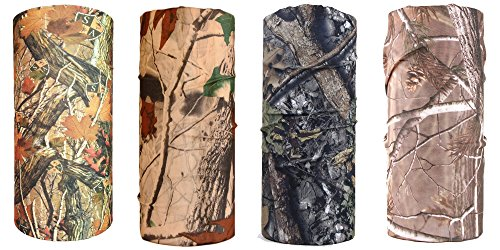 O&W[Camo] Unisex Polyester UV Seamless Lightweight Casual Headbands Bandanna Headwear Scarf Wrap Cool Neck Gaiters for Sports Outdoor Pack of 4