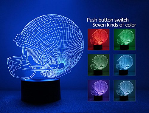 GOLDENRIVER 3D Illusion Bulbing Night 7 Color Change Touch Switch Table Desk Lamp LED Light