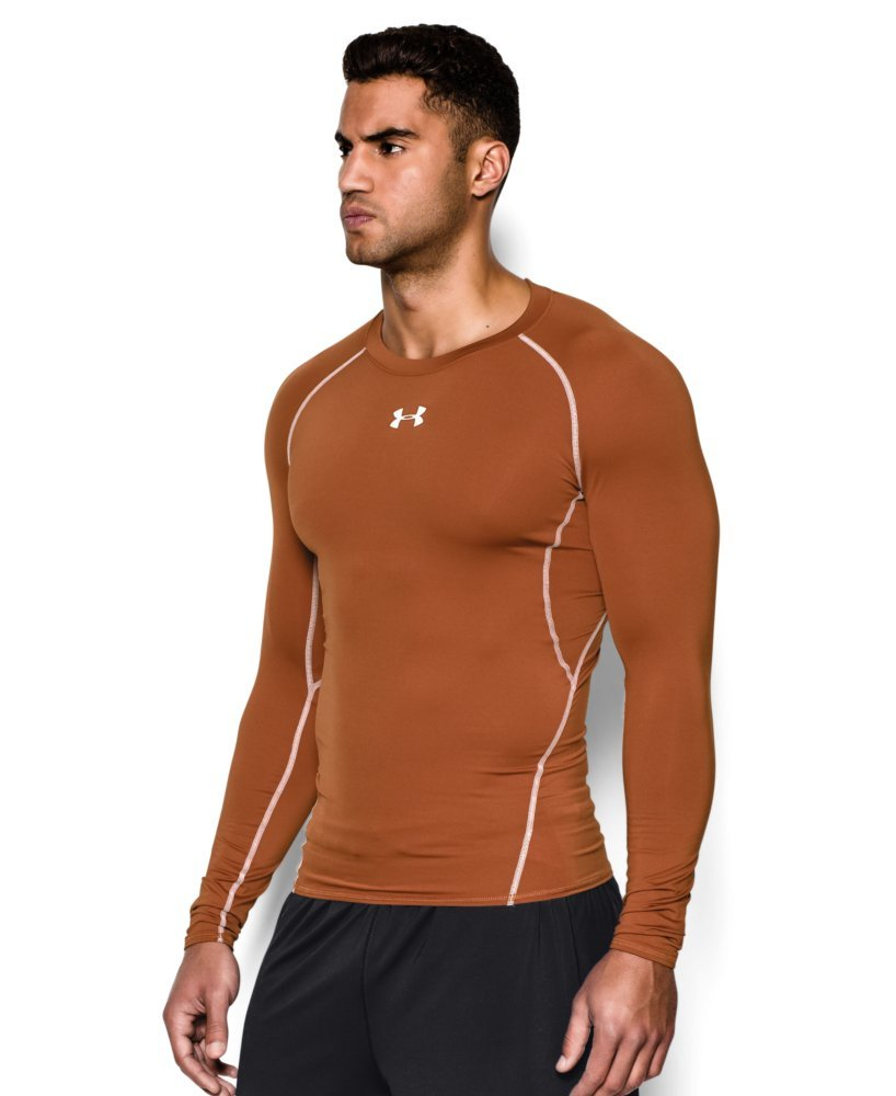 Under Armour Men's HeatGear Long Sleeve Compression Shirt, Texas Orange (875)/White Small by Under Armour (Image #3)