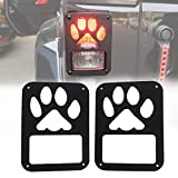 Tail light Cover Trim Guards Protector for Jeep Wrangler JK JKU Sports Sahara Freedom Rubicon X & Unlimited 2/4 door 2007-2018 (Dog Paw)