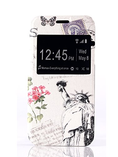 for Galaxy S5 Mini Case, view Windows Eiffel Tower Pattern Premium Pu Leather +Painting /Flip /Stand /Protective Skin Cover Case for Samsung Galaxy S5 Mini G800F G800H (Eiffel Tower)