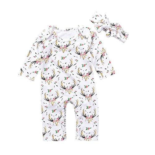 Unmega Baby Boy Girl Floral Romper Deer Jumpsuit Long Sleeve Onesies Bodysuit with Headband (80/6-9 months, Deer) ()