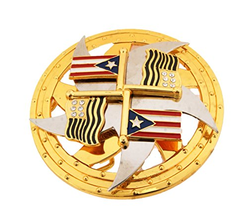 Puerto Rico San Juan and Usa Flag Spinners Belt Buckle.