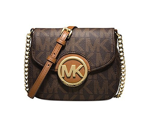 801cb97fd0ff MICHAEL Michael Kors Fulton Small Crossbody-Brown Logo-Gold: Handbags:  Amazon.com