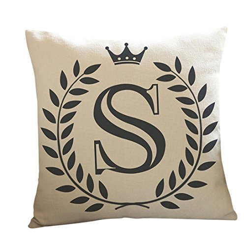 KMG Kimloog 18 x 18 Linen Throw Pillow Case Leaf Letters Pattern Decorative Square Cushion Cover (S)