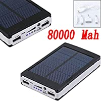 Black 80000mAh Dual USB Portable Solar B...