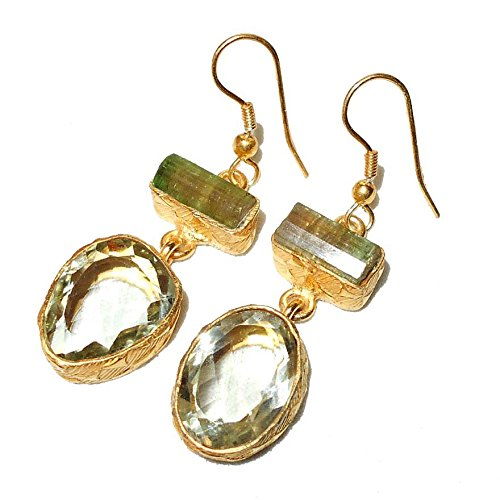 Sitara Collections SC10308 Gold-Plated Rough Gemstone Earrings, Green Amethyst and ()