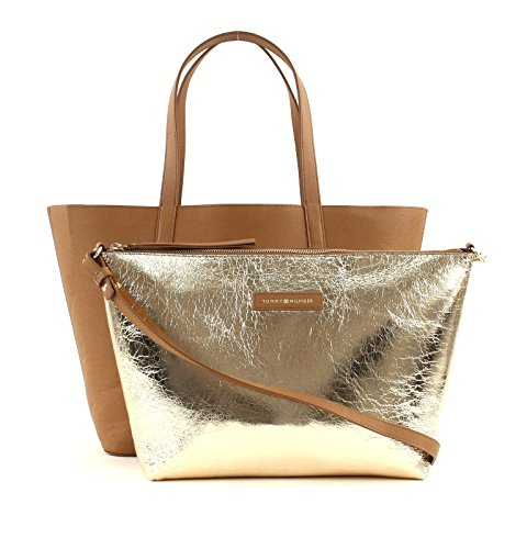 Toasted crushed Gold Bags In Size Hilfiger Accessories Coconut One Tommy Bag brown Metallic AqIpg6F