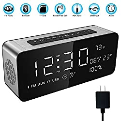 Soundance Electric Digital LED Alarm Clock Wireless FM Radio Portable Bluetooth Speaker with USB Built-in Mic for Bedroom Bedside Office Desk iPhone Android Laptop Desktop Computer, A10+Charger Sliver