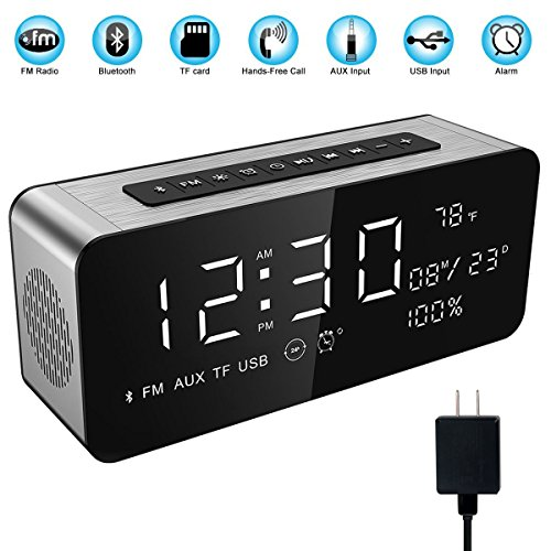Desktop Charger Display (Soundance Electric Digital LED Alarm Clock Wireless FM Radio Portable Bluetooth Speaker with USB Built-in Mic for Bedroom Bedside Office Desk iPhone Android Laptop Desktop Computer, A10+Charger Sliver)