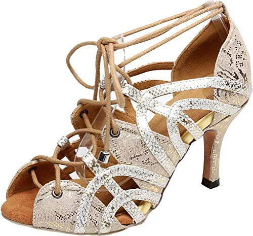 Vimedea Womens Sexy Latin Dance Ballroom Shoes Peep Toe Lace Up Salsa Evening 5017 Silver US 10(4IN) ()