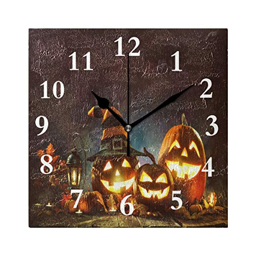 FunnyCustom Square Wall Clock Candle Lit Halloween Pumpkin 7.8 Inch Creative Decorative for Living Room/Kitchen/Bedroom ()