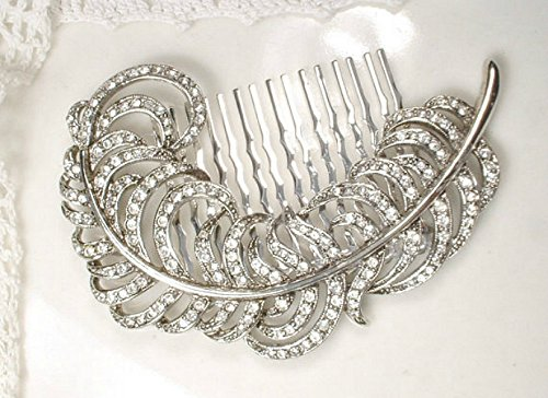 Feather Bridal Hair Comb, 1920's Rhinestone Silver Leaf Headpiece from Vintage Brooch, Art Deco Silver Clear Crystal Silver Plume Wedding Accessory