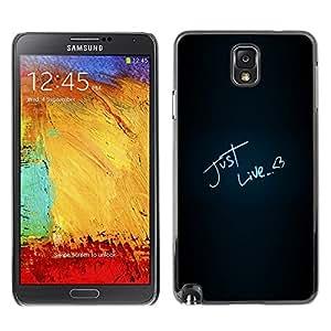 TECHCASE**Cubierta de la caja de protección la piel dura para el ** Samsung Galaxy Note 3 N9000 N9002 N9005 ** Just Like Love Heart Neon Text Black
