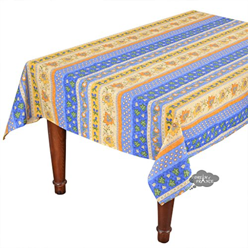 60x96'' Rectangular Monaco Blue Cotton Coated Provence Tablecloth by Le Cluny by Le Cluny French Linens