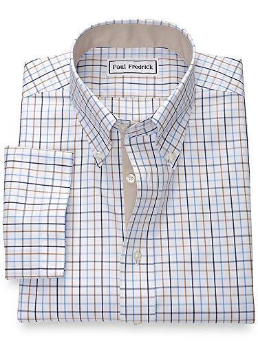 - Paul Fredrick Men's Non-Iron Cotton Tattersall Short Sleeve Shirt Blue/tan 16.0