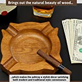 ROGOZ Wood Cigar Ashtray For Men,Durable Solid 4