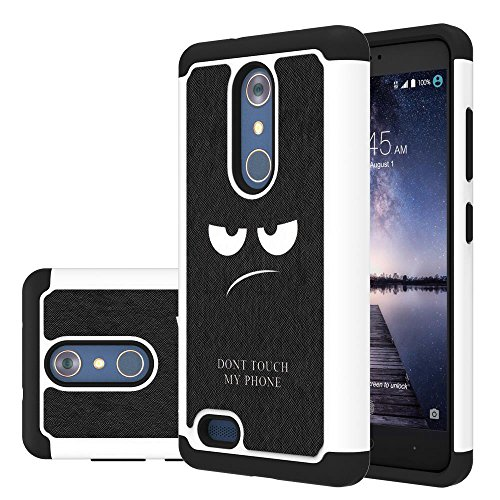 ZTE Zmax Pro Case, LEEGU [Drop Protection] Dual Layer Heavy Duty Protective Silicone Plastic Cover rugged Armor Case for ZTE Zmax Pro / ZTE Carry - Don't Touch My Phone