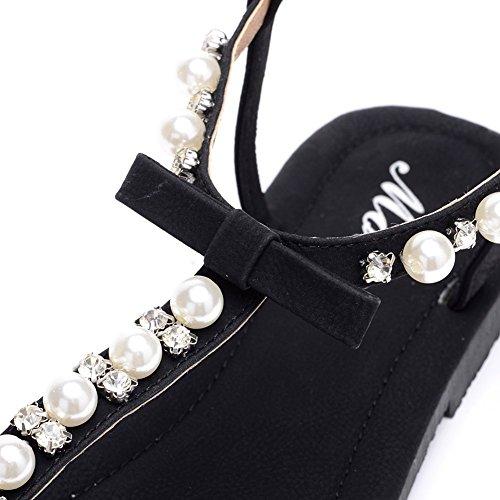 D2c Belleza Para Mujer Bohemia Perla Hebilla Con Cuentas Acento Plano Tanga Sandalias Negro