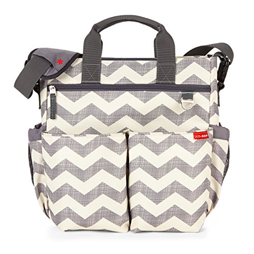 Skip Hop Messenger Diaper Bag with Matching Changing Pad, Duo Signature, Chevron ()