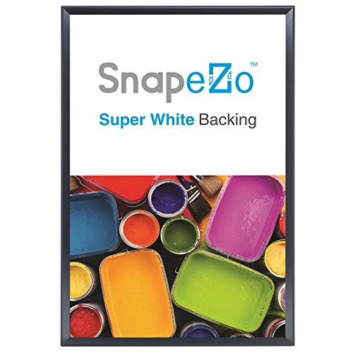 """SnapeZo Black Poster Frame 36x48 Inches, 1.25"""" Aluminum Profile, Front-Loading Snap Frame, Wall Mounting, Professional Series"""