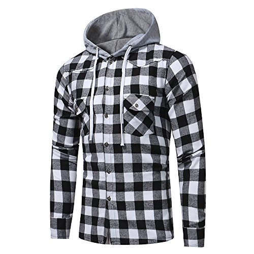 Mens Plaid Long Sleeve Lattice Printed Hoodie Pullover Sweatshirt Tops Blouse