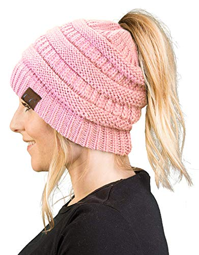 BT-6020a-29 Messy Bun Womens Winter Knit Hat Beanie Tail - Pale Pink
