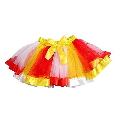 f3ec89b10 Amazon.com: KODORIA Rainbow Ribbon Tutu Skirt Girl Costume Ballet ...
