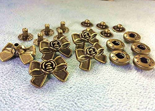 ● 飾りバネホック T リボン 20*14mm 5組入り アンティークゴールド(真鍮古美)