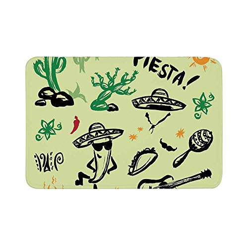 C COABALLA Mexican Decorations Durable Door Mat,Popular Hispanic Objects with Fiesta Taco Guitar Cactus Plant Nachos Print for Living Room,17.7