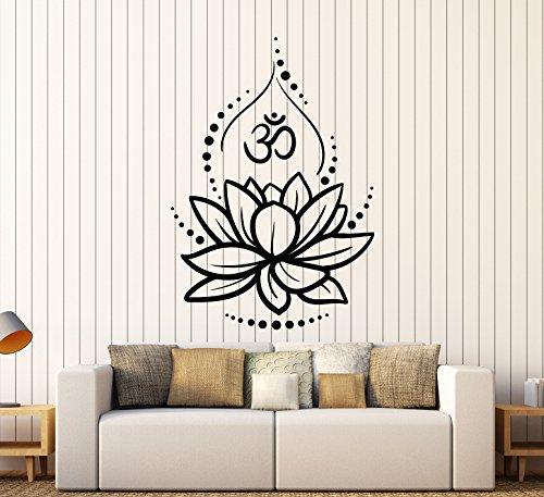 Large Vinyl Wall Decal Lotus Flower Yoga Hinduism Hindu Om Symbol Stickers Large Decor (ig4625)